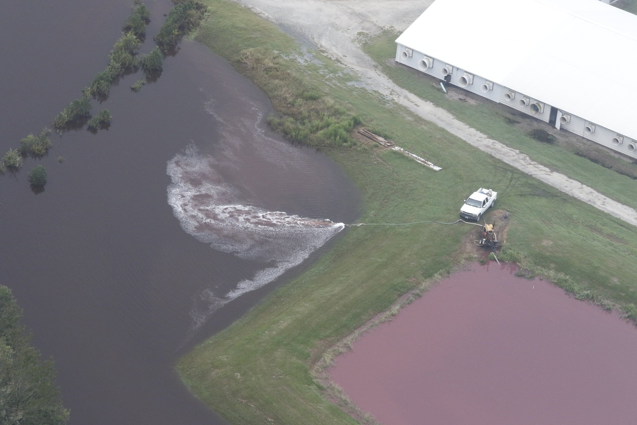A North Carolina worker pumps hog waste into floodwaters after Hurricane Florence. Source: Creative Commons.